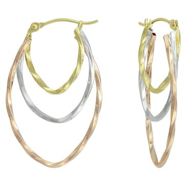 14K Tri Color Hook Earrings