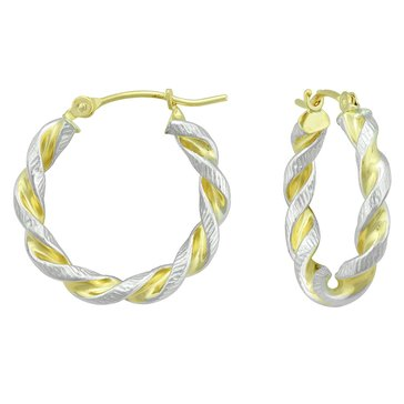 14K Tt Twist Hoop Earrings