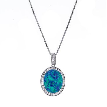 Sterling Silver Created Opal Triplet & White Topaz Pendant