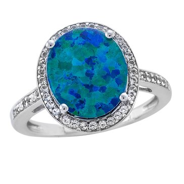 Sterling Silver Created Opal Triplet & White Topaz Ring