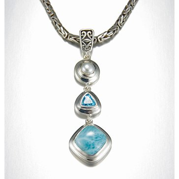 Marahlago Sterling Silver Larimar Azure Necklace