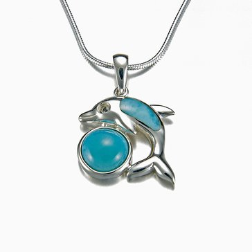 Marahlago Sterling Silver Larimar Dolphin Necklace