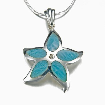 Marahlago Sterling Silver Larimar Starfish Necklace