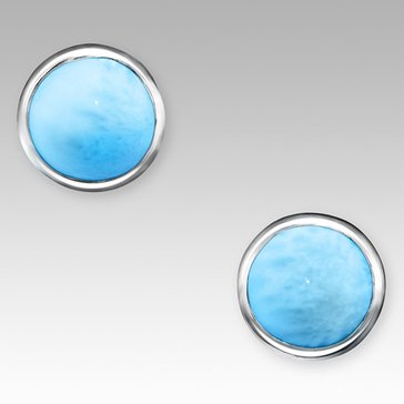 Marahlago Sterling Silver Larimar Round Earrings