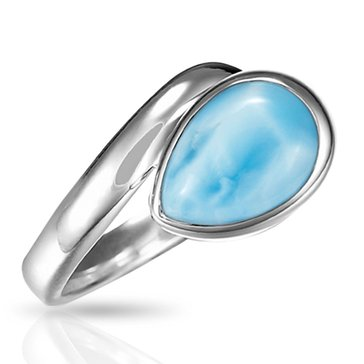 Marahlago Sterling Silver Larimar Hydra Ring Size 7