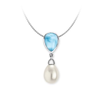 Marahlago Sterling Silver Larimar Alisa Necklace
