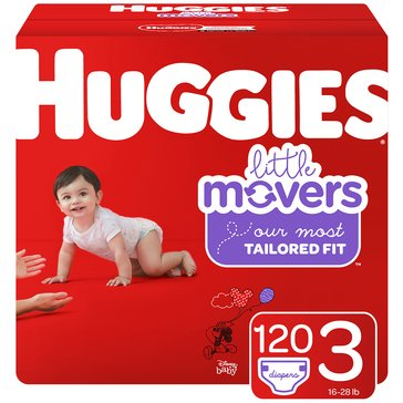Huggies Little Movers Giant Pack 120-Pack Count Diapers, Size 3