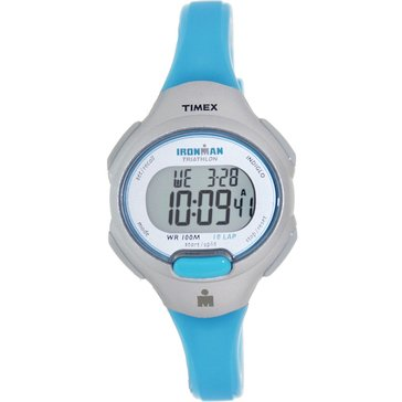 Timex Women's Ironman 10 Lap Blue and Silver Tone Watch, 34mm