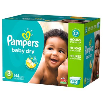 Pampers Baby Dry Giant-Pack 144-Count Diapers, Size 3