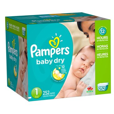 Pampers Baby Dry - Size 1, Economy Pack Plus Diapers 252-Count