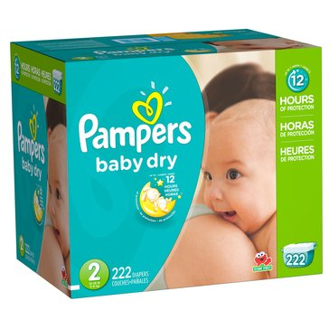 Pampers Baby Dry - Size 2, Ecomony Pack Plus Diapers 222-Count
