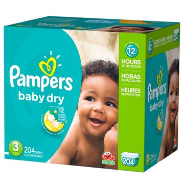 Pampers Baby Dry - Size 3, Economy Pack Plus Diapers 204-Count