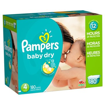 Pampers Baby Dry - Size 4, Economy Pack Plus Diapers 180-Count