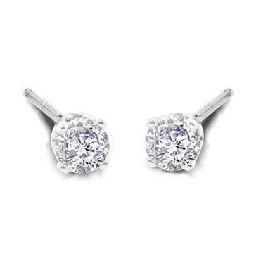 14K White Gold 1/4 cttw Round Solitaire Earring