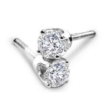 14K White Gold 3/4 cttw Solitaire Earrings