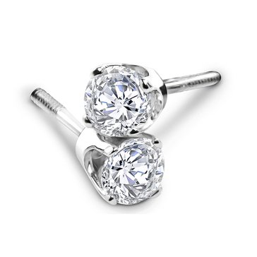 14K White Gold 1 cttw Diamond Solitaire Earrings