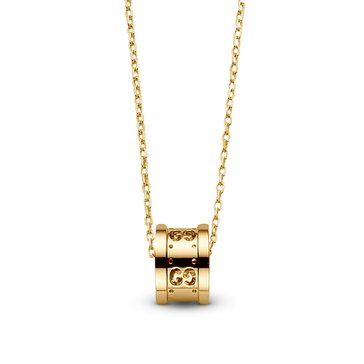 Special Purchase Gucci 18K Yellow Gold Small Logo Barrel Pendant