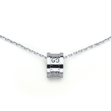 Gucci 18K White Gold Small Logo Barrel Pendant
