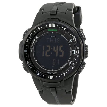 Casio Men's Pro Trek Tough Black Solar Digital Watch, 56mm