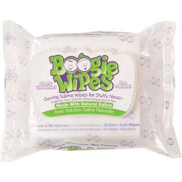 Boogie Wipes Saline Nose Wipes, Unscented, 30-Count