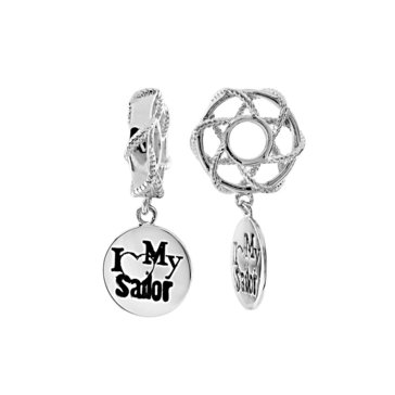 Sterling Silver I Love My Sailor Disk Dangle Story Wheel