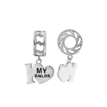 Sterling Silver I Heart My Sailor Dangle Story Wheel