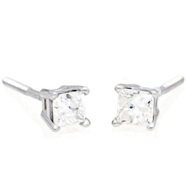 14K White Gold 1/3 cttw Princess Cut Solitaire Earring