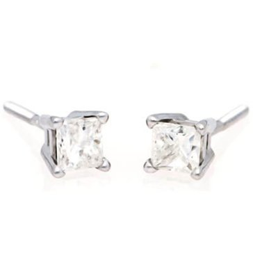 14K White Gold 3/8 cttw Princess Cut Solitaire Earring