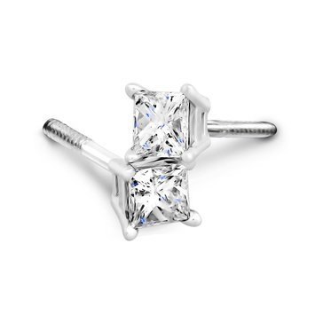 14K White Gold 3/4 cttw Princess Cut Solitaire Earrings