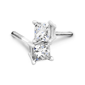 14K White Gold 1 cttw Diamond Princess Cut Solitaire Earrings