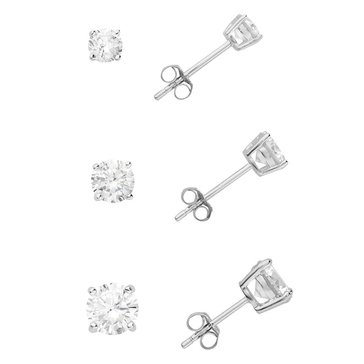 Sterling Silver 4,5 & 6mm Round CZ Solitaire 3-Piece Earring Set