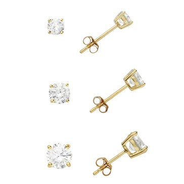 Gold Over Silver 4,5 & 6mm Round CZ Solitaire 3-Piece Earring Set