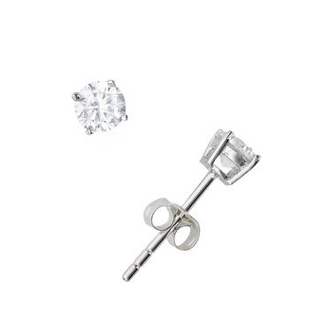 Sterling Silver 4MM Round Solitaire Earrings