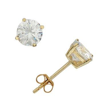 Gold Over Silver 6mm Round Solitaire Earrings