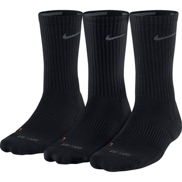 Nike Dri Fit 3 PK Cushioned Crew Sock- Black- Size Large
