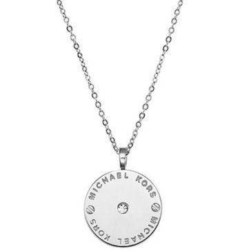 Michael Kors Silver Tone Logo Disk Pendant With Crystal