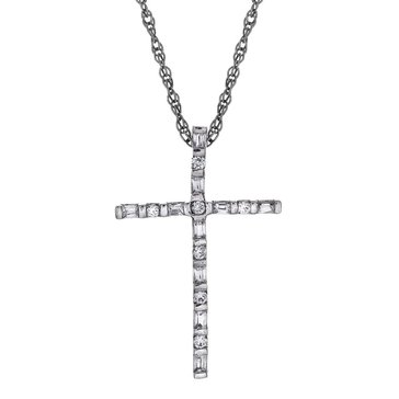 Sterling Silver 1/5 cttw Diamond Cross