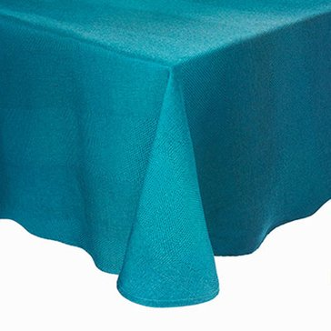 Harbor Home Gold Teal Twill 60' Round Tablecloth