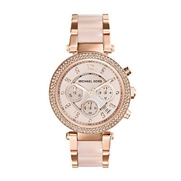 Michael Kors Women's Chronograph Parker Blush and Rosegold-tone Watch, 39M