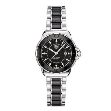 Tag Heuer Women's Formula 1 Diamond Accent Black Ceramic And Stainless Steel Bracelet Watch 32mm