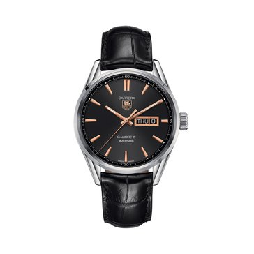 Tag Heuer Men's Carrera Calibre 5 Day-Date Black/Black Leather Automatic Watch, 41mm
