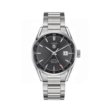 Tag Heuer Men's Carrera Calibre 7 Twin Time Automatic Watch WAR2012.BA0723, Anthracite/ Fine Brushed and Polished Steel 41mm
