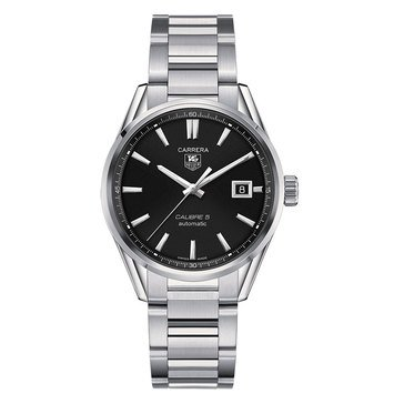 Tag Heuer Men's Carrera Calibre 5 Black/Fine Brushed and Polished Steel Automatic Watch, 39mm