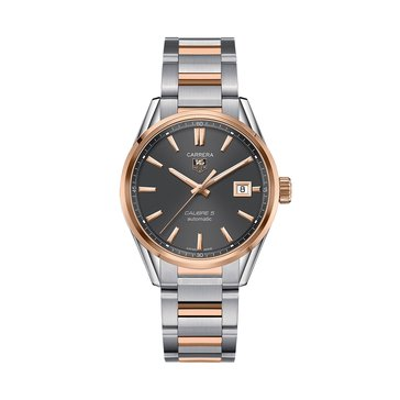 Tag Heuer Men's Carrera Calibre 5 Anthracite/18K Rose Gold and Fine Brushed Steel Automatic Watch, 39mm