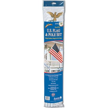 Annin 3'x5' Poly/Cotton U.S. Flag And Pole Set