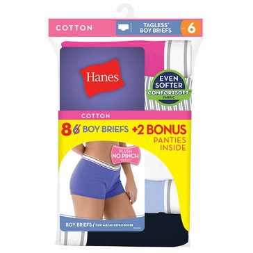Hanes Women's 8 Pack Cotton Boy Brief - Asst. Size 5