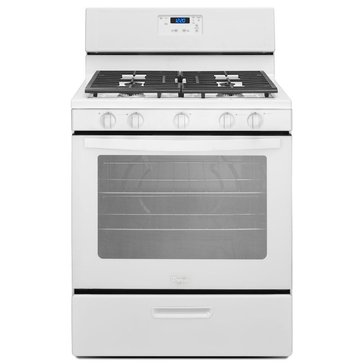 Whirlpool 5.1-Cu.Ft. Freestanding Gas Range w/ 5 Burners, White (WFG505M0BW)