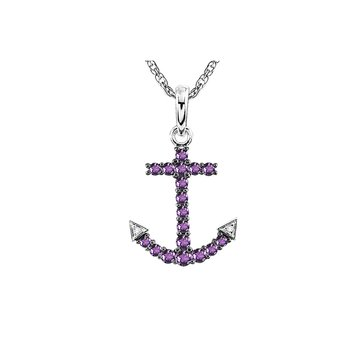 Sterling Silver Amethyst and Diamond Anchor Pendant