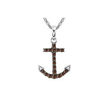 Sterling Silver Garnet And Diamond Anchor Pendant