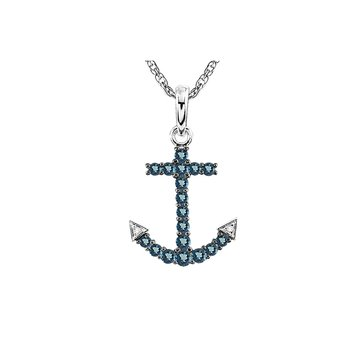 Sterling Silver Blue Topaz and Diamond Anchor Pendant